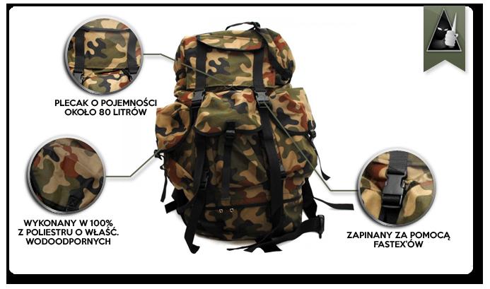 9ca347557beab Jednokomorowy plecak wojska polskiego w kamuflażu polowym wz. 97. Pojemność  plecaka to około 80 litrów. Został wykonany w 100% z poliestru o  właściwościach ...