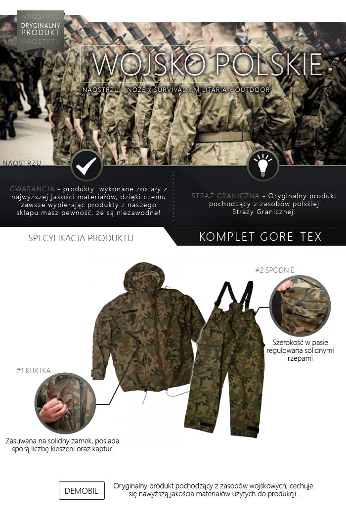 0accf98b9c2 Oryginalne wierzchnie ubranie straży granicznej - kurtka i spodnie -  podstawowe wyposażenie w trudnych warunkach atmosferycznych.
